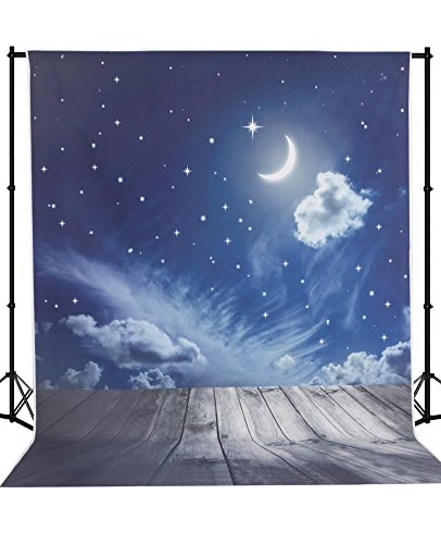 Mehofoto Fantasy Night Newborn Backdrop Moon Stars Wood Floor Vinyl Digital Background for Kids 5X7ft by Mehofoto