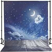Mehofoto 5×7ft Fantasy Backdrop Night Sky Moon Stars Wood Floor Newborn Kids Silk Digital Photo Background for Kids Studio Props
