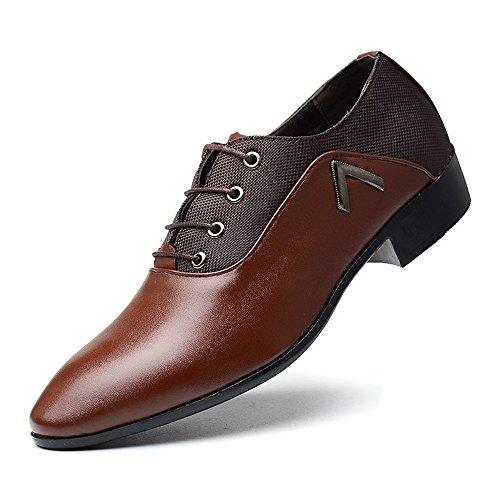 39 Pelle 2018 formale traspirante Lace Canvas shoes PU Oxfords Scarpe Uomo Jiuyue Marrone uomo EU amp; lavoro Marrone Lace da Color Up Scarpe da Leather Smooth Dimensione Splice 51PqPZ4fw