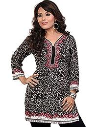 Indian Tunic Top Womens Kurti Printed Crape Blouse Indian Clothes
