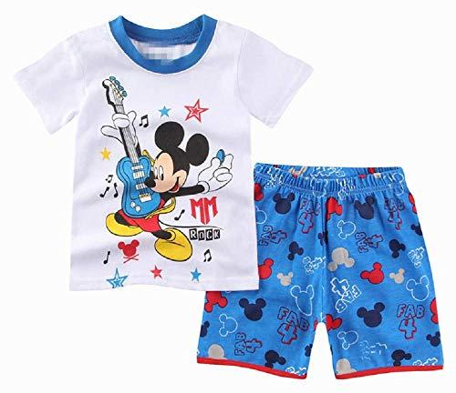Boys Pajamas 100% Cotton Spongebob Short Kids Snug Fit Pjs Summer Toddler Sleepwear(Mickey Mouse, 5T) -