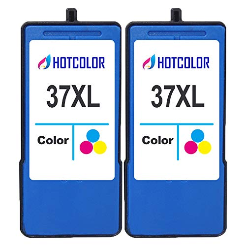 HOTCOLOR 2 Pack 37 XL 37XL Color Ink Cartridge for Lexmark x3650 x4650 x5650 x5650es x6650 x6675 Z2420 Printer (2CL) LEX18C2180