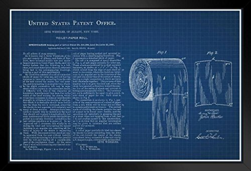 Toilet Paper Roll Official Patent Blueprint Framed Poster 14x20 -