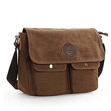 Amazon.com : Vintage Canvas Satchel Messenger Bag School Shoulder ...