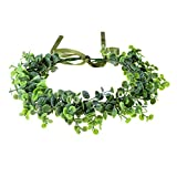 Love Sweety Baby's Breath Flower Crown Bohemian Bridal Grass Headband Succulent Eucalyptus Halo (Green Leaf)