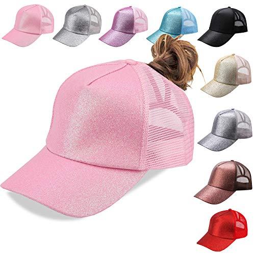 - NeuFashion Ponycap Messy High Bun Ponytail Adjustable Mesh Trucker Baseball Cap Hat , Glitter Pink, One Size