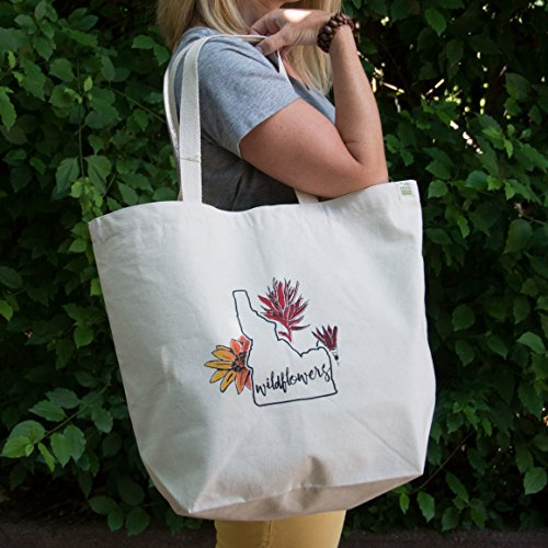 Idaho Wildflowers Screen Printed Tote Bag, Large heavy duty canvas bag -