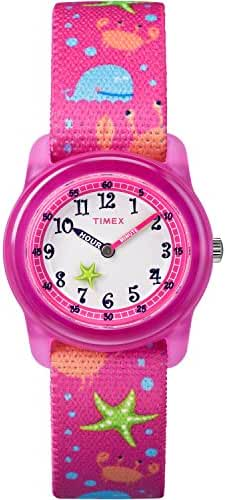 Timex Girls TW7C13600 Time Machines Analog Pink Sea Elastic Fabric Strap Watch