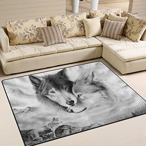 ALAZA Mountain Wolf Kids Area Rug,Non-Slip Floor Mat Soft Resting Area Doormats for Living Dining Bedroom 5 x 7
