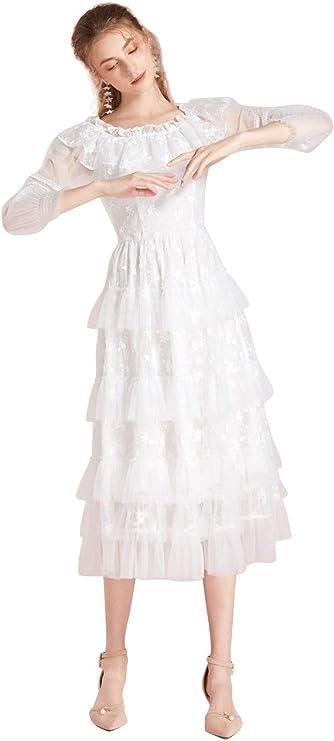 WENQU Vestido Bonito Mujer Otoño Blanco Palabra Hombro Pastel ...