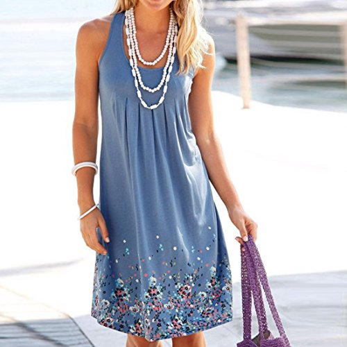 Sundress Moichien Dress Sky Floral Blue Casual Sleeveless Printed Ai Swing Women Summer s vxUB1w1q