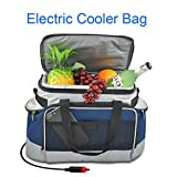 YAPA Electric Car Cooler Bag, Lightweight Portable Thermoelectric Refrigerator with Hard Liner Car Cable Charging Directly Connect Coolers Leak Proof Small Outdoor Fridge for Travel (Navy)