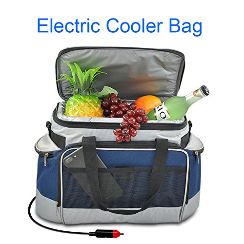 - YAPA Electric Car Cooler Bag, Lightweight Portable Thermoelectric Refrigerator with Hard Liner Car Cable Charging Directly Connect Coolers Leak Proof Small Outdoor Fridge for Travel (Navy)