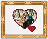 Heart & Love Picture Frame - Gold Wood Frame With Heart Shaped Double Mat for 4x6 photo