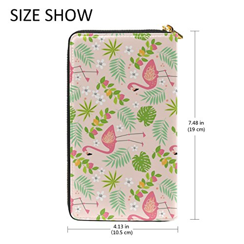 TIZORAX And Womens Purses Flamingoes Leaves Wallet Pink Green 2 Clutch Zip Handbags Organizer Around Pattern qrYnr8