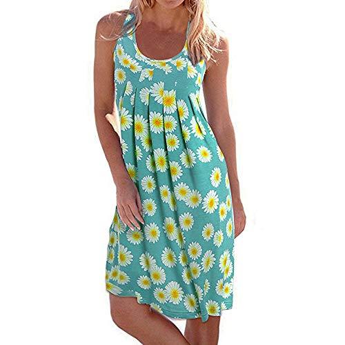 Winsummer Women Summer Casual Tank T Shirt Dresses Vintage Floral Printed Vest Dresses Swing Mini Sundress