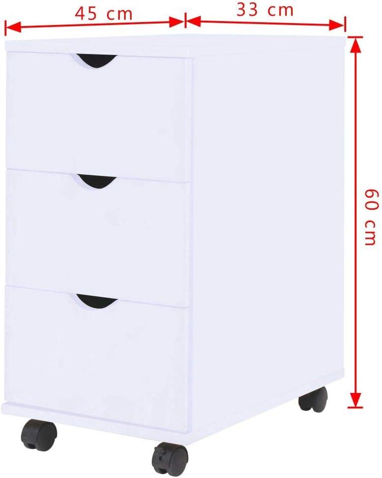 vidaXL Cajonera 33x45x60 cm Color Blanco Organizador Almacenamiento Sinfonier
