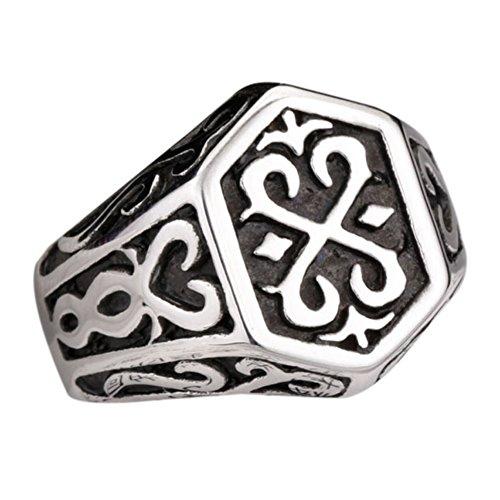 Stainless Steel Viking Norse Odin Thors Mjolnir Engraved Flower Ring