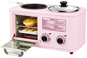 Electric 4 in 1 Multifunction Household Breakfast Machine Mini Toaster Baking Bread Pizza Oven Omelette Fry Pan Boiler Food Steamer,Pink