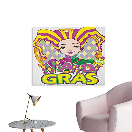 Anzhutwelve Mardi Gras Corridor/Indoor/Living Room Carnival Girl in Harlequin Costume and Hat Cartoon Fat Tuesday Theme Cool Poster Yellow Purple Green W36 xL24