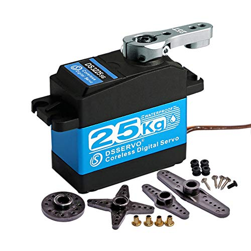 DS3225 25KG Coreless Digital RC Servo, Stainless Steel & Aluminum Metal Gear - High Speed High Efficiency High Torque Waterproof Servo for Baja Cars RC Robot (Coreless Angel 270 Degree)