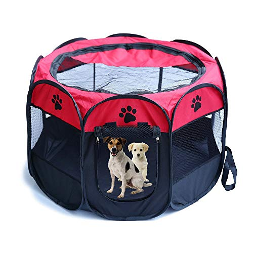 (Pet Dog Cat Playpen Cage Crate - Portable Folding Exercise Kennel - Indoor & Outdoor use)