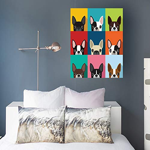 (Canvas Wall Art Print Painting Boston Terrier Pattern Full Color Wildlife Wooden Frame Stretched Artwork Printing 16 x 16 for Home Bedroom Living Room Office Decoration)
