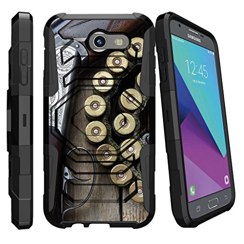MINITURTLE Case Compatible w/ Case for [Samsung Galaxy J3 Emerge | J3 Prime | J3 Eclipse | Luna Pro 2017] [Armor Reloaded] Dual Layer Hard Shell Stand Case + Clip Shotgun w/ Ammo Armor Shotgun Case
