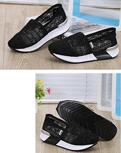 Shoe Crochet on Black DADAWEN Walking Women's Slip Sneaker Classic Toning 757YIq6