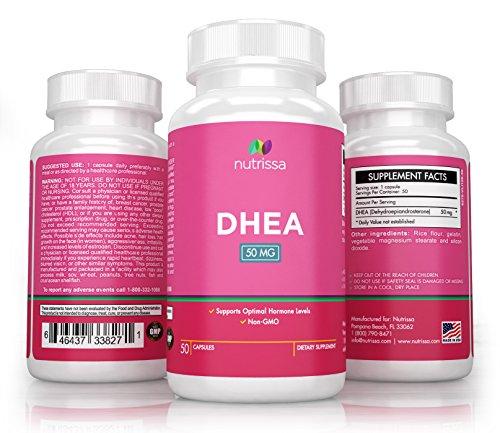 Nutrissa® DHEA 50 mg - sain équilibre Hormonal pour les hommes et les femmes - supplément Non-OGM - 100 % satisfait ou remboursé