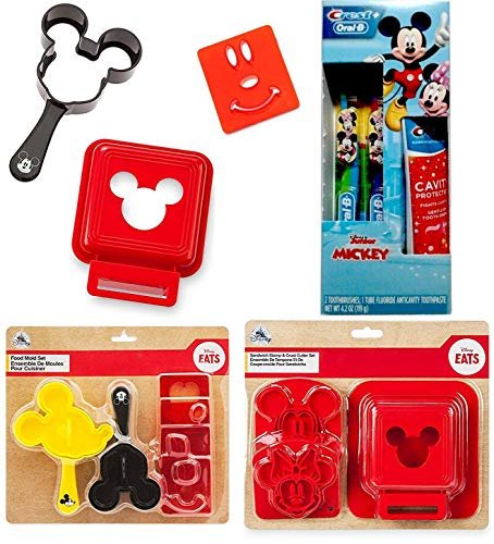 Brush Time Mealtime Mickey Mouse Disney Junior Fun Magic Collection + Sandwich molds + Ears Food Mold + & Toothbrush Characters Fun time Treats and eats (Mickey Donald And Goofy In The Little Mermaid)