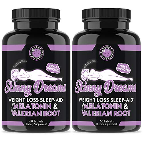 Angry Supplements Skinny Dreams, Night Time Sleep Aid for All-Natural Weight Loss, Restful Sleep w/Melatonin, Burn Fat Overnight, Suppress Appetite, Non-GMO Vegetarian Formula (2-Bottles)