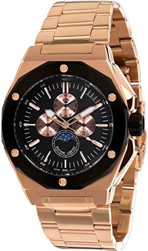 Louis Quartz Watch - Louis XVI Men's-Watch Le Souverain l'acier l'or Rose Noir Swiss Made Moonphase Analog Quartz Stainless Steel Rose Gold 624