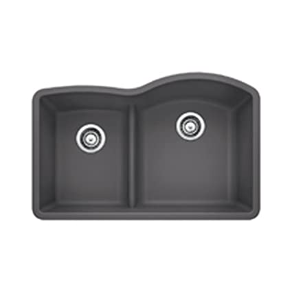 Blanco 441600 Diamond 175 Low Divide Under Mount Reverse Kitchen Sink  Large Cinder Blanco Cinder Sink38