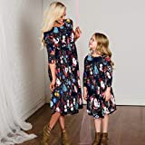 CapsA Pajamas Christmas Matching Family Dress Mommy and Me Midi Dress Outfit Long Sleeve anta Claus Print Mom and Girl's Family Clothing