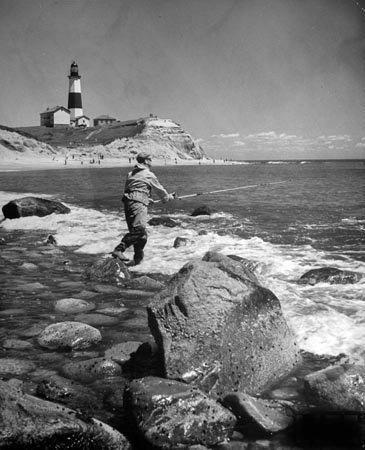 Photo Fishing at Montauk Lighthouse New York 1939