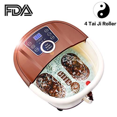 Anfan Portable Foot Spa Bath Massager with Motorized Rolling Massage | 4 Pro-Set Program - Bubble & Auto Heating, Red Light Sterilization, Frequency Conversion, Time Setting (4 Tai-ji Roller) ()