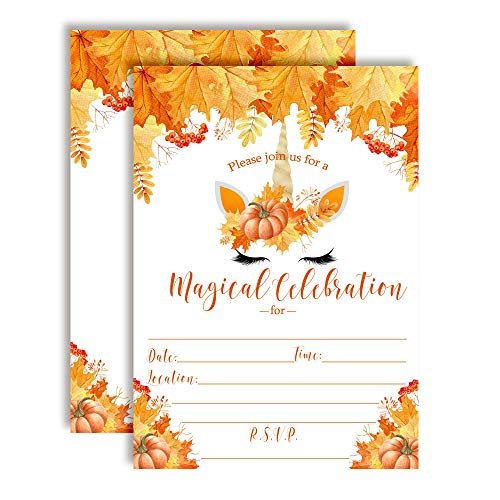 Fall Birthday Invitations - Pumpkin Unicorn Face with Watercolor Fall