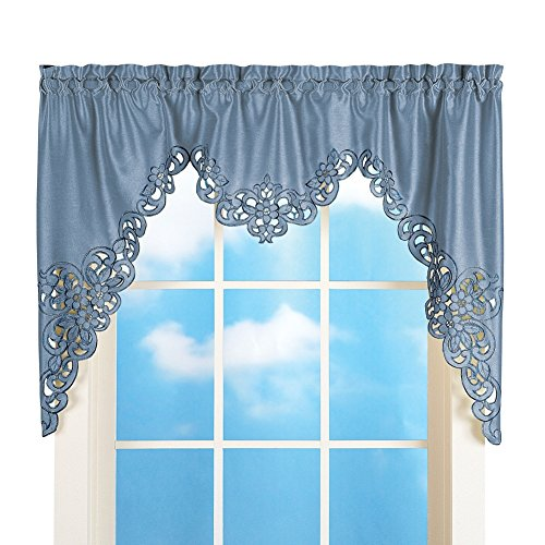 - Collections Etc Elegant Cut Out and Embroidered Scroll Window Valance with Rod Pocket Top for Easy Hanging, Blue, 58