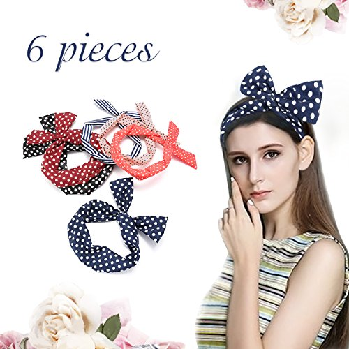 - 6 PCS Twist Bow Wired Headbands Scarf Headwrap, Y.F.M Dot HairBand Set for Women/Girls Bows Headwraps Turban Hair Accessories Pack of 6 PCS