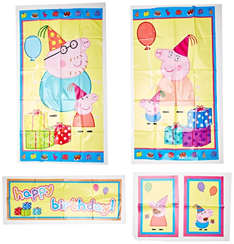 Amscan Peppa Pig Birthday Party Scene Setters Wall Decorating Kit, 5 Pieces, Made from Plastic, 59