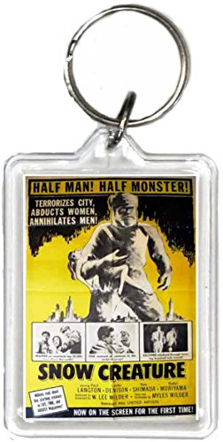 - Snow Creature Movie Poster Keychain, the Same Picture on Both Sides.