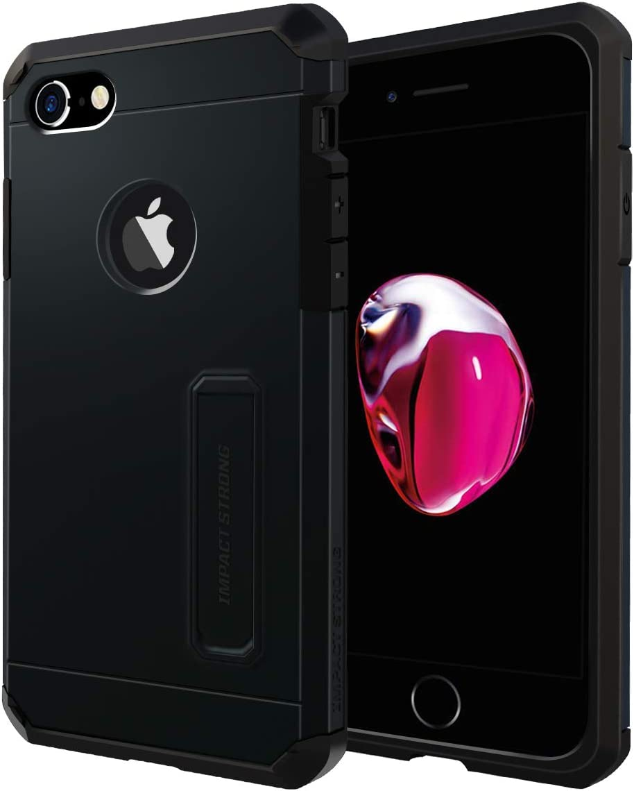 iPhone 7/8 Case, ImpactStrong Heavy Duty Dual Layer Protection Cover with Metal Kickstand Heavy Duty Case for Apple iPhone 7/8 (K-Gun Black)