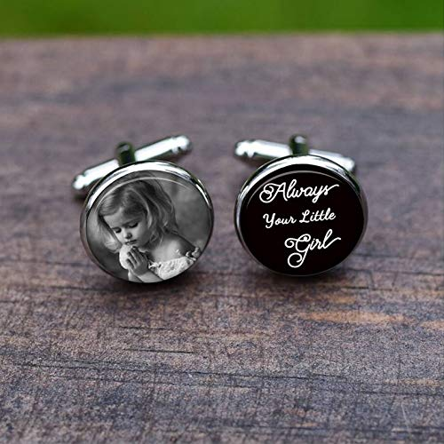 Bloody devil Wedding Cufflinks,Father of The Bride Cuff Links, Custom Image Photo Picture, Always Your Little Girl Personalized Wedding Tie Clips Set, Bridal Party Gift,Gift of Love
