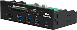 "Kingwin Powered USB Hub 3.0 w/ 1 USB-C Port, SD Card Reader & Micro SD Card Reader - Sata Power Port w/Lightning Speed Data Transfer Up to 5Gbps - 5.25"" Computer Case Front Bay"