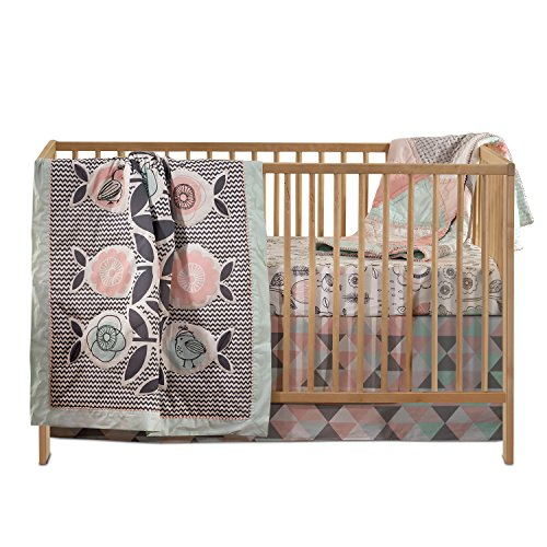 Lolli Living 4-Piece Baby Bedding Crib Set with Sparrow Pattern. Complete Set with Quilt, 2 Fitted Sheets, and Bed (Quilt Skirt)