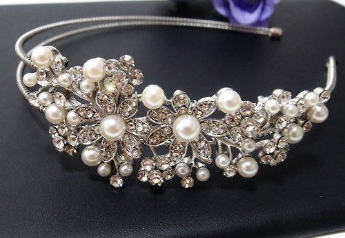 (Bridal Wedding Jewelry Crystal Rhinestone Pearl Duo Flowers headband Silver #8 )