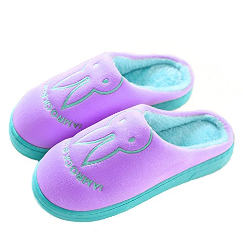 GreatParagon Paragon Women Men House Plush Slippers Cotton-Padded Warm Slippers Indoor Anti-Slip Shoes Couple Slippers 03 Purple wtZCHXO