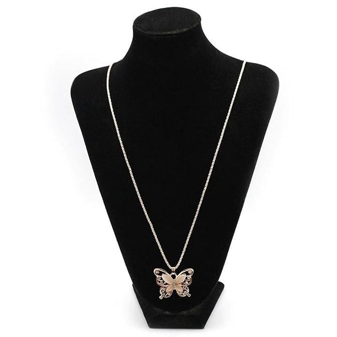 Botrong Mujeres Lady oro rosa ópalo mariposa colgante collar suéter cadena: Amazon.es: Joyería