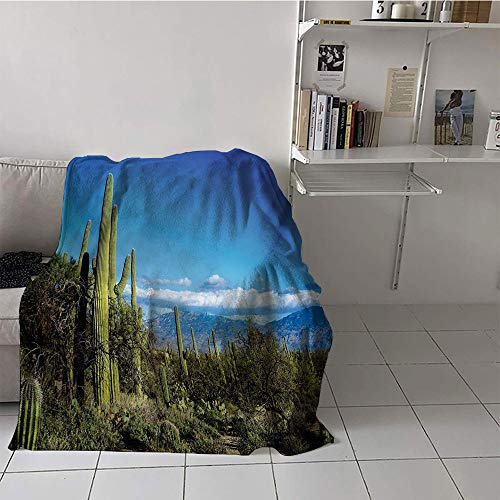 Khaki home Children's Blanket Stroller Print Digital Printing Blanket (30 by 50 Inch,Desert,Wide View of The Tucson Countryside with Cacti Rural Wild Landscape Arizona Phoenix,Green Blue